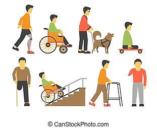 begrensd, iconen, mensen, onbekwaamheid, kansen, gehandicapt, vector, lichamelijk
