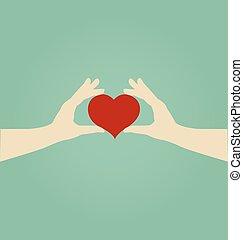 begrepp, älska hjärta, kvinna räcka, räcker, röd
