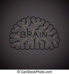 begrepp, 10, tråd, elektrisk, kabel, färg, text, utrymme, isolerat, illustration, eps, mörk, hjärna, vektor, svart, koppla samman, bakgrund, design, avskrift
