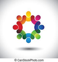 begrepp, abstrakt, styrelse, barn, personal, stående, ikonen, arbetare, circle., också, färgrik, grafisk, möte, diskussioner, representerar, skola skämtar, detta, anställda sammanslagning, etc., vektor, eller