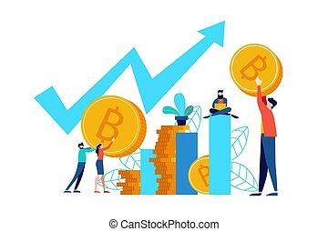 begrepp, affär, bitcoin, direkt, marknaden, block