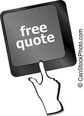 begrepp, affär, citera, gratis, knapp, tangentbord