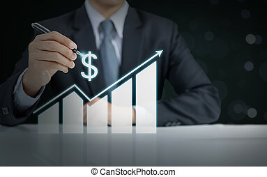 begrepp, affär, graf, tillväxt, resning, affärsman, gåva