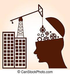 begrepp, affär, intelligens, concept., hjärna, utrustar, construction.
