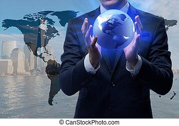 begrepp, affär, klot,  global, holdingen, affärsman