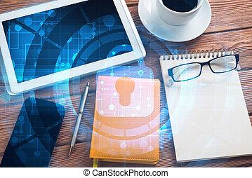 begrepp, affär, kompress, avskärma,  PC,  Workplace, Säkerhet