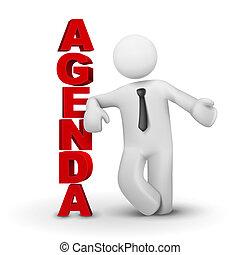 begrepp, affär, presenterande, dagordning, 3, man