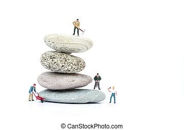 begrepp, affärsfolk, hinder, övervinna, miniatyr, teamwork