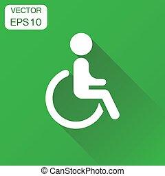 begrepp, affärsfolk, invalid, rullstol, länge, handikappat, vektor, grön, illustration, bakgrund, icon., shadow., pictogram., man