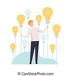 begrepp, affärsman, tänkande, lätt, illustration, skapande, nyskapande, idé, vektor, smittande, brainstorming, lök