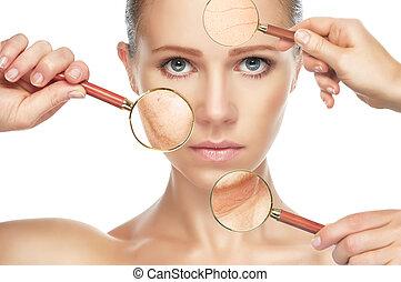 begrepp, aging., procedurerna, skönhet, lyftande, ansiktsbehandling, skinn, anti-aging, spännande, föryngring