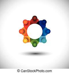 begrepp, anställda, eller, vektor, möte, arbetare, ledare