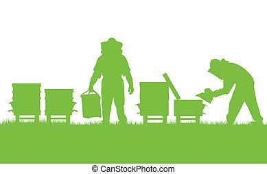 begrepp, arbete, affisch, vektor, ekologi, bakgrund, bigård, kort, beekeepers
