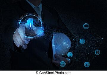 begrepp, arbete, beräkning, hand, diagram, dator, affärsman, gräns flat, färsk, moln