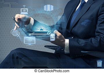 begrepp, arbete, beräkning, laptop, affärsman, moln