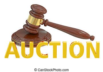 begrepp, auktion, framförande, trä auktionsklubba, 3