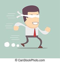begrepp, av, riskera, in, affär, med, blind, affärsman