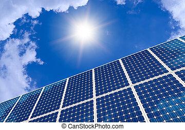 begrepp, av, solar panel