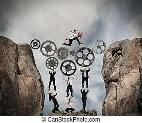 begrepp, av, teamwork, med, drev, system