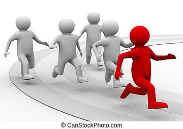 begrepp, avbild, isolerat, bakgrund., ledarskap, vit, 3