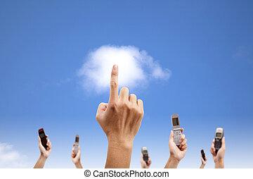 begrepp, beräkning, mobil, hand, ringa, tel., moln, holdingen, toucha, smart
