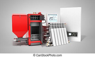 begrepp, besparing, elektrisk, render, fast, nymodig, uppvärmning, grå, batteri, termostat, kokare, bakgrund, drivmedel, 3