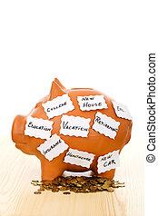 begrepp, besparing, noteringen, -, piggy packa ihop