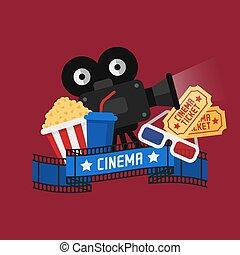 begrepp, bio, popcorn, film framvisa, videoband, exponeringsglas 3d, lottsedlar