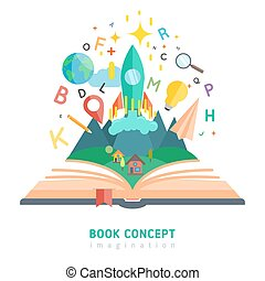 begrepp, bok, illustration