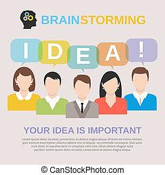 begrepp, brainstorming, idé