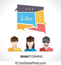 begrepp, brainstorming, illustration