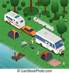 begrepp, camping, illustration