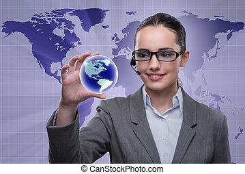 begrepp, centrera, affär, global, rop, operatör