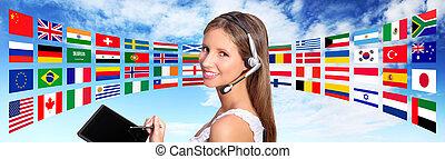 begrepp, centrera, globala kommunikationer, rop, operatör, internationell