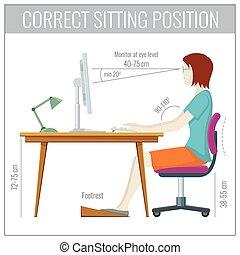 begrepp, dator, sittande, rygg, vektor, hälsa, korrekt, förhindrande, ställing