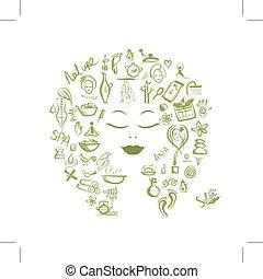 begrepp, design, kvinnlig, kurort, huvud, din