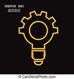 begrepp, drev, lätt, concept., idé, lök, skapande