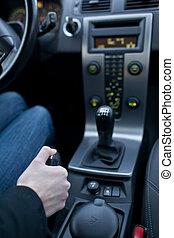 begrepp, drivande, -, chaufför, ung, kvinnlig, användande, ...