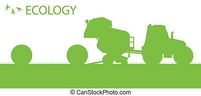 begrepp, ekologi, organisk, affisch, hö, vektor, bakgrund, tillverkning, jordbruk, packar, traktor