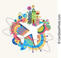 begrepp, färg, resa, luft, formar, plan, ikon