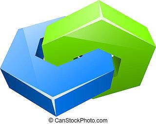 begrepp, färg, två, hexagon, vektor, sammanhängande, icon.