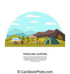 begrepp, färgrik, camping