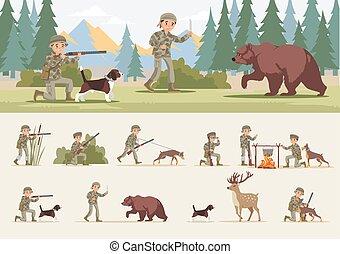 begrepp, färgrik, jakt