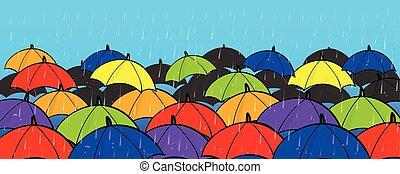 begrepp, färgrik, utrymme, många, avskrift, paraplyer
