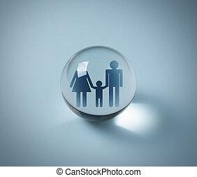 begrepp, familj, kristall, person, boll, försäkring