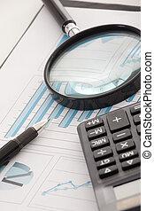 begrepp, finansiell, affär, penna, bakgrund,  data