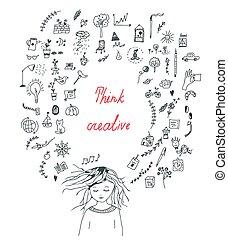 begrepp, flicka, kreativt tänkande