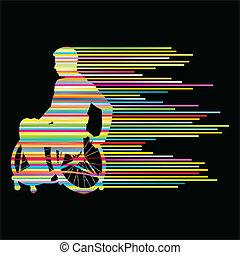 begrepp, folk, affisch, rullstol, stripes, handikappad, ...