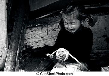 begrepp, foto, -, trafficking, mänsklig, barn