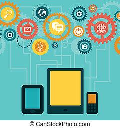 begrepp, framkalla, mobil, app, -, vektor